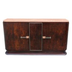 French Art Deco Exotic Rosewood Buffet with Pink Marble Top | From a unique collection of antique and modern buffets at http://www.1stdibs.com/furniture/storage-case-pieces/buffets/