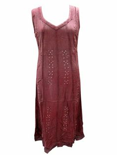 Tank Dress Stonewashed Rayon Embroidered Maroon Sleeveless Dresses #mogulinteriordesigns @ http://www.amazon.com/dp/B00JTSVQ3E