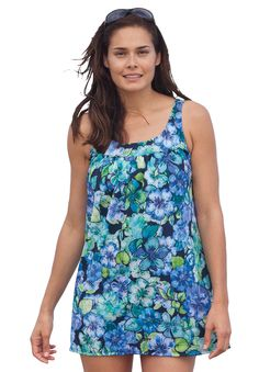 Plus Size Printed 2-piece tunic swimdress image