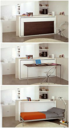 """So perfect for small spaces. The Poppi Desk is a space saving modern """"murphy bed"""" that features a fold down desk. Poppi Desk is available in a twin size or an double size wall bed. Murphy Bed Desk, Murphy Bed Plans, Desk Bed, Twin Size Murphy Bed, Diy Murphy Bed, Cama Murphy Ikea, Fold Down Beds, Horizontal Murphy Bed, Space Saving Beds"""
