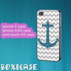 Grey Chevron,Anchor---iphone 4 case,iphone 5 case,ipod touch 4 case,ipod touch 5 case,in plastic black or white. by Boxicase, $14.95