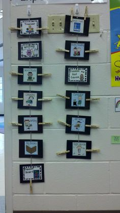 my literacy work stations chart, held together by paper clips so I can change the order if needed. The kids love finding their name and station!    labels courtesy of:  http://reallyroper.blogspot.com/2011/08/more-center-signs.html  http://www.teacherspayteachers.com/Product/Literacy-Workstation-Labels