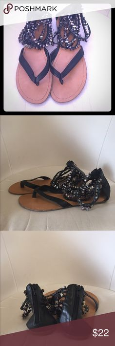 Black leather Roman style sandals with glass beads Black leather Roman style sandals with glass beads around the ankle. London Rebel. Shoes Sandals