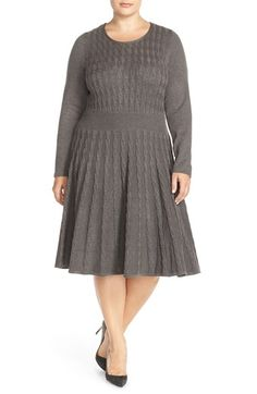 Eliza J Cable Knit A-Line Dress (Plus Size) available at #Nordstrom