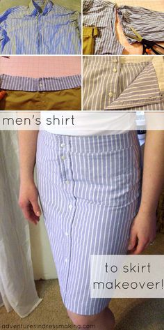 DIY Pencil Skirt Made from Men's Shirt. Get the directions
