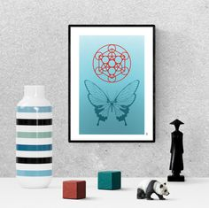 Turquoise butterfly poster, zen wall art, sacred geometry print, digital download, printable metatrons cube Printable Butterfly, Printable Art, Butterfly Wall Art, Blue Butterfly, Sacred Geometry, Art For Sale, House Warming, Bees, Cube