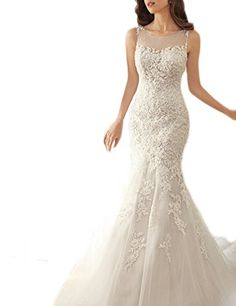 SeasonMall Womens Wedding Dresses Scoop Mermaid Court Train With Applique  Size 4 US Ivory    3bace3313