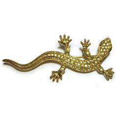 Lizard Brooch Rhinestone Gold Emerald Green Eyes Vintage