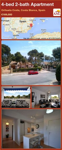 Apartment for Sale in Orihuela Costa, Costa Blanca, Spain with 4 bedrooms, 2 bathrooms - A Spanish Life Valencia, Portugal, Apartments For Sale, Terrace, Spanish, Bath, Bedroom, Life, Things To Sell