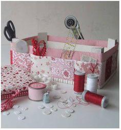 Caja de costura utilizando una caja de fresas
