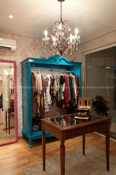 Cute Clothing Boutiques Bright blue wardrobe