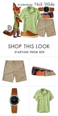 """""""Nick Wilde"""" by leslieakay ❤ liked on Polyvore featuring Post Overalls, Throne, Banana Republic, Clae, men's fashion, menswear, disney, disneybound and disneycharacter"""