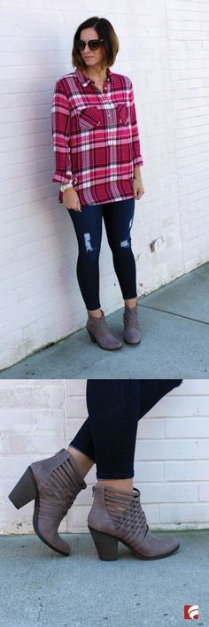 Why blend in when you can stand out? The Weever Bootie by Fergalicious features woven details that will set you apart from the rest! This unique bootie offers a woven upper detail with peekaboo straps and 3-inch heel for a stylish boost. Emily of @mrs_soto pairs her Weever Booties with trendy distressed jeans and a loose flannel top to complete her must-have cold weather look.