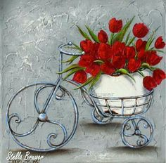 ✿Bouquet Full Of Flower Basket✿ Stella Bruwer Decoupage Vintage, Decoupage Paper, Image Foto, Clip Art, Bicycle Art, Red Tulips, Paint Party, Pictures To Paint, Botanical Prints