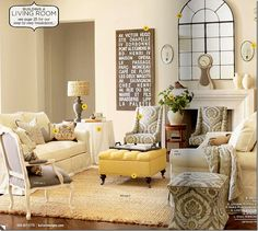 Gray and yellow living room. Love the furniture pieces & layout