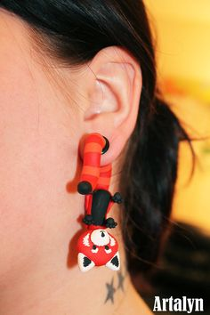 Red Panda Ear Critter Plugs Available in 2g 0g by ArtalynCreations