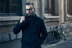man's portrait.beard, glasses.pipe