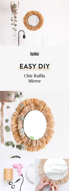 Rattan, hessian, raffia, and jute are all natural textures that are super in. We love teaming these textures up with natural woods and minimal accessories. Spruce up a plain mirror with this simple and budget-friendly DIY. Diy Clay, Clay Crafts, Raffia Crafts, Mirror Crafts, Diy Mirror, Mirror Ideas, Spiegel Design, Diy Coasters, Chalk Markers