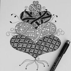 #ゼンタングル #zentangle #zendoodle #doodle #tangle #zenart #pen #heart #ハート