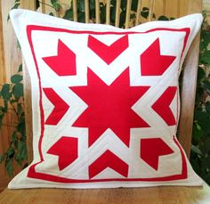 """Modern designer quilted throw pillow cover. White with large red starburst pattern quilted in white thread Pillow cover only for 16"""" insert. by CottonandWhimsy on Etsy Handmade Pillow Covers, Throw Pillow Covers, Throw Pillows, Pillow Cover Design, Designer Pillow, Fiber Art, Quilt Patterns, Unique Jewelry, Quilting Patterns"""