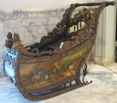 antique Dutch sled, rococo 18th century, museum van Loon, Amsterdam.  Such incredible craftsmanship!  Stunning!