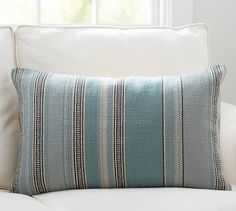 "Wentworth Stripe Lumbar Pillow Cover 16"" x 26"" Made of cotton  25.00"