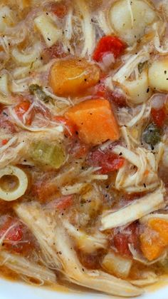 Sicilian Chicken Soup ~ with a peppery broth, fresh vegetables and tender most chicken.