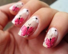 Small pink butterflies nail design