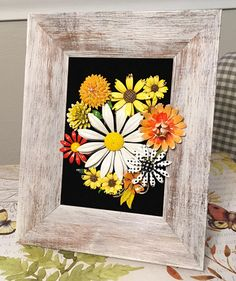 Vintage Jewelry Rustic Sunny Floral Framed Art Collage Picture