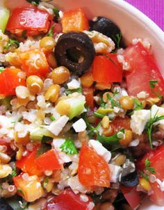 Quinoa Mediterranean Salad. Made this quite a few times. Delicious. For variety, try adding balsamic vinegar or cilantro, and if you don't have lentils, add chopped garbanzo beans or any bean you like.