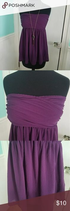 Victoria's Secret strapless babydoll top Victoria's Secret Moda International strapless babydoll top in eggplant. Very comfortable stretch mesh fabric, and also very flattering! Worn a couple of times, but in great condition! Sz S, smoke free home. Victoria's Secret Tops