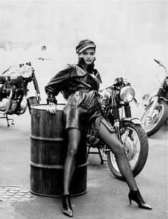 """""""Wild at Heart"""" for Vogue, 1991– Supermodel Helena Christensen (whom I adore!) –Image by © Peter Lindbergh http://theselvedgeyard.wordpress.com/2012/11/12/wild-at-heart-vogue-1991-the-epic-photography-of-peter-lindbergh/"""