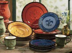 Tuscany Colorful  Fleur De Lis 16pc Dinneware Set,