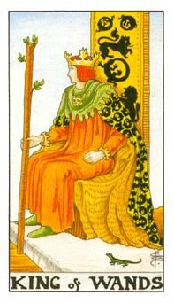 King of Wands card from the Universal Waite Tarot Deck Tarot Card Decks, Tarot Cards, Celtic Cross Tarot, Rod And Staff, King Of Wands, Tarot Gratis, Eastern Philosophy, Rider Waite Tarot, Free Tarot