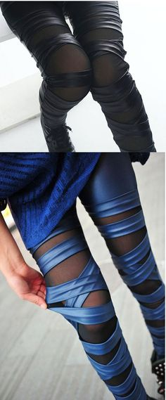 538f5396c0b Fashion Straps Mesh Leather Lace Leggings