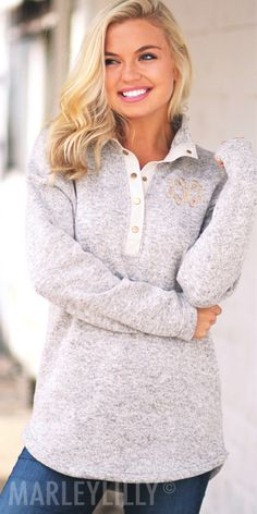 Cozy up all winter long in this Monogrammed Heathered Pullover ...