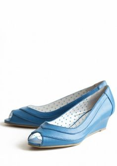 What Would Snow White Wear? Blue wedges.