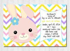 Easter Theme Invitation Bunny Rabbit - Birthday Party pastels - Modern, Contemporary Kids - Printable, Digital on Etsy, $10.00