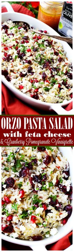 This cheesy orzo pasta salad is full of bright and colorful winter flavors tossed with a delicious dose of Cranberry Pomegranate Vinaigrette. It's also the perfect side dish to share at your next Holiday gathering! Vinaigrette Recipe, Cheesy Orzo, Best Pasta Salad, Cooking Recipes, Healthy Recipes, Healthy Food, Pasta Salad Recipes, Soup And Salad, Salads