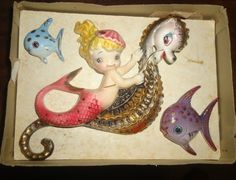 Vintage Lefton New Old Stock Mermaid Wall Plaque Set