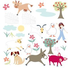 RoomMates Gem's Friends Farm Peel and Stick Wall Decals ** See this great product. (This is an affiliate link)