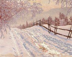 Gustaf Fjaestad (1868-1948) - Camino nevado con una cerca