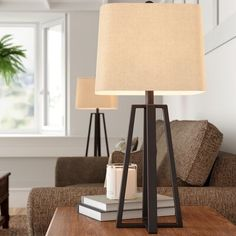Darby Home Co Lashley Tripod Table Lamp Farmhouse Lamps, Rustic Lamps, Rustic Lighting, Farmhouse Table, Traditional Table Lamps, Traditional Furniture, Linen Lamp Shades, Tripod Table Lamp, Nightstand Lamp