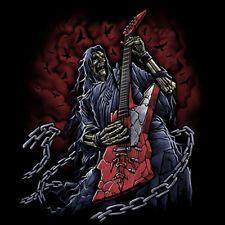 Hatchet Man Grim Reaper Skull Chains Playing Guitar Rock Music T-Shirt Tee