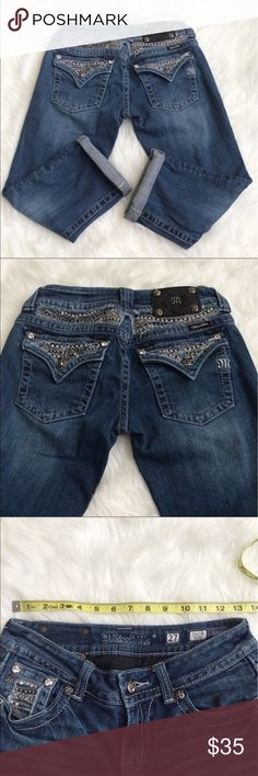 """Miss Me Capris Great overall condition! Size 27 with some stretch but not much. Measurements: 13.5"""" waist, 6.5"""" rise, 15.5"""" seam to seam, 22"""" inseam (uncuffed). Not my size and cannot model. Reasonable offers please! Miss Me Jeans"""