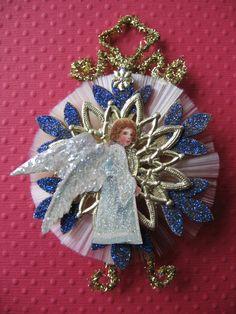 Vintage Look Angel Christmas Ornament Victorian-1900's German Postcard Angel, German Tinsel, German Dresdens, Spun Glass