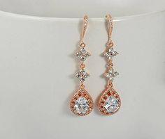 Rose Gold Bridal Earrings Teardrop Earrings Swarovski