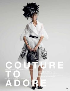 """Couture To Adore"" with Anja Rubik by Patrick Demarchelier for Vogue Japan May 2012"