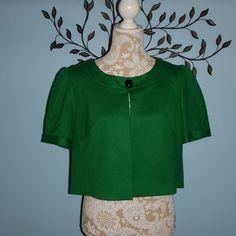 Ann Taylor LOFT Green Short Sleeve Lined Crop Bolero Jacket Size 12 #AnnTaylorLOFT #Blazer