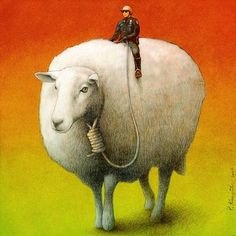 Sheep Control Pawel Kucznski  My feelings after the last black youth shooting, though the police aren't riding sheep